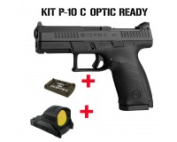 KIT PISTOLET CZ P10 C OR CAL. 9x19 + POINT ROUGE MEOPTA