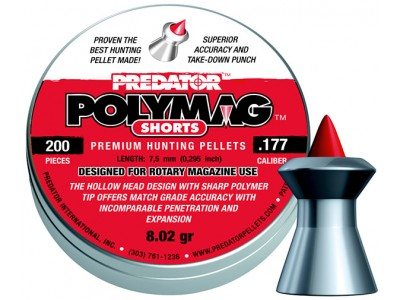 PLOMBS 4.5mm PREDATOR POLYMAG SHORT POINTE POLYMERE
