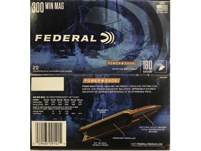 300 WIN MAG FEDERAL POWER SHOCK SOFT POINT 180Gr