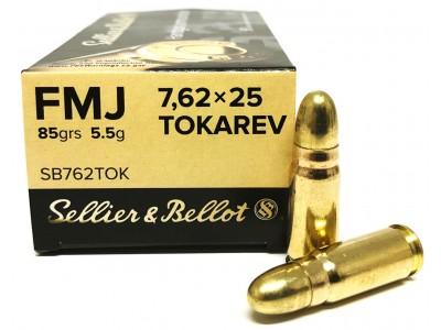 7,62x25 TOKAREV FMJ SELLIER & BELLOT (boîte de 50)
