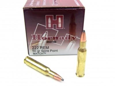 222 remington HORNADY SPIRE POINT MATCH (boîte de 50)
