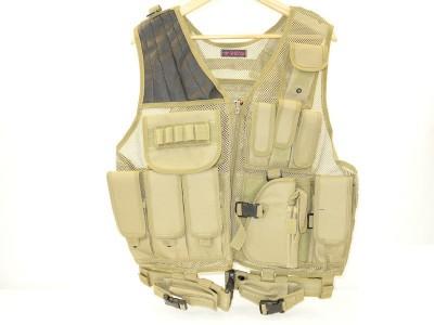 Veste tactique Tan 8 poches holster + ceinturon