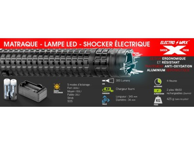 Matraque électrique Lampe LED XTREM SHOCK