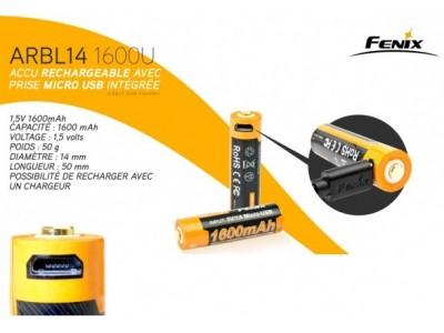 BATTERIE /ACCU TYPE LR6 (AA) RECHARGEABLE FENIX 1600mAh PAR USB