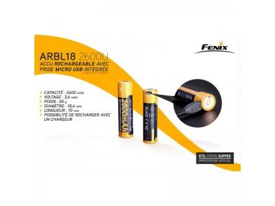 BATTERIE /ACCU RECHARGEABLE FENIX 18650 2600mAh PAR USB