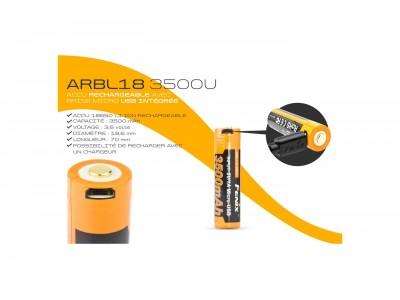 BATTERIE /ACCU  RECHARGEABLE USB FENIX 18650 3500mAh